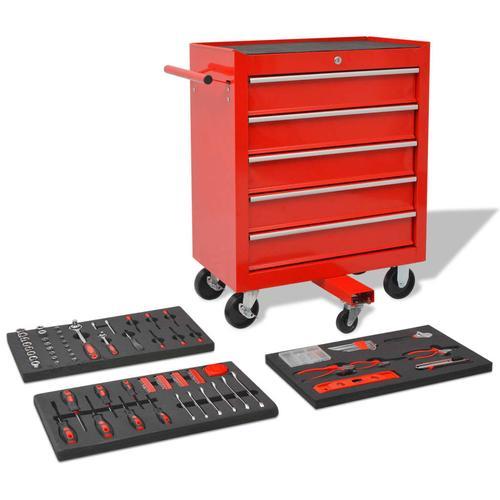 vidaXL Werkstattwagen mit 269 Werkzeugen Stahl Rot