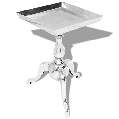 vidaXL Beistelltisch Quadratisch Aluminium Silber
