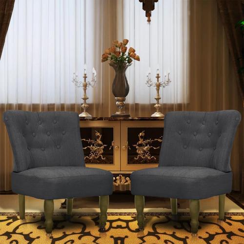 vidaXL Französische Sessel 2 Stk. Grau Stoff