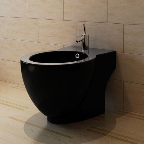 vidaXL Standbidet Stand-Bidet Bodenstehend Bidet Keramik schwarz