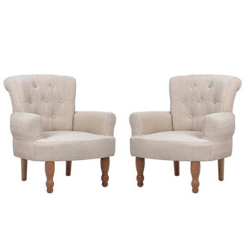 vidaXL Französische Sessel 2 Stk. Creme Stoff