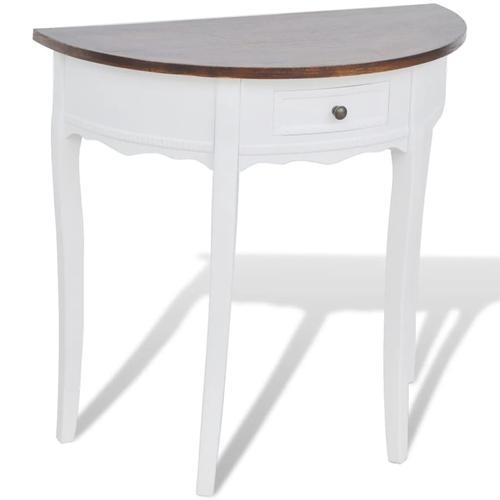 vidaXL Konsolentisch mit Schublade und Brauner Tischplatte Halbrund