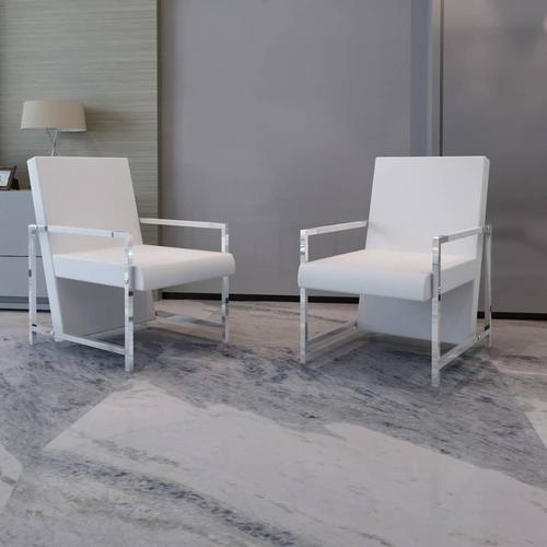 vidaXL Sessel 2 Stk. Verchromtes Gestell Weiß Kunstleder