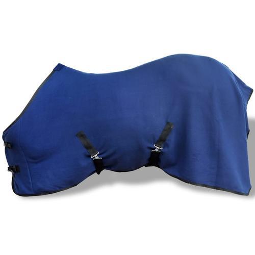 vidaXL Pferdedecke Fleecedecke Abschwitzdecke mit Kreuzbegurtung 145 cm blau