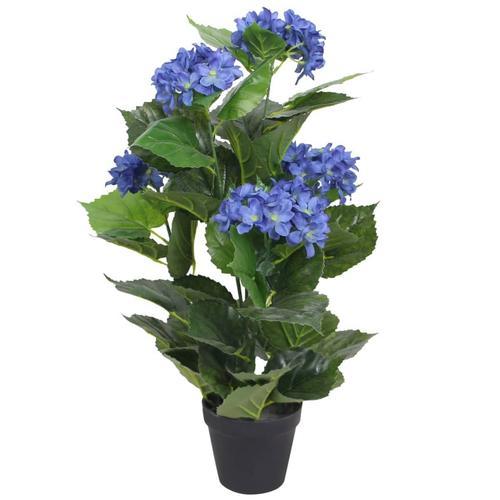 vidaXL Künstliche Hortensie mit Topf 60 cm Blau