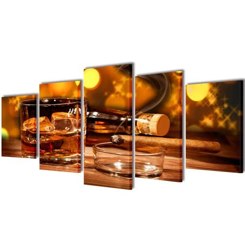 vidaXL Bilder Dekoration Set Whiskey und Zigarre 200 x 100 cm