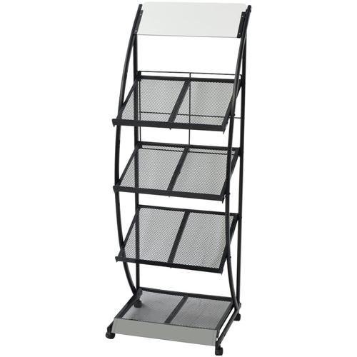 vidaXL Zeitschriftenständer 47 x 40 x 134 cm Schwarz und Weiß A4