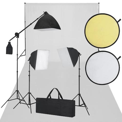 vidaXL Fotostudio-Set Weiß und Schwarz