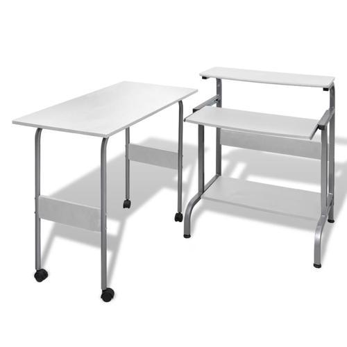 vidaXL Computertisch Schreibtisch Computerwagen PC Tisch Bürotisch weiß