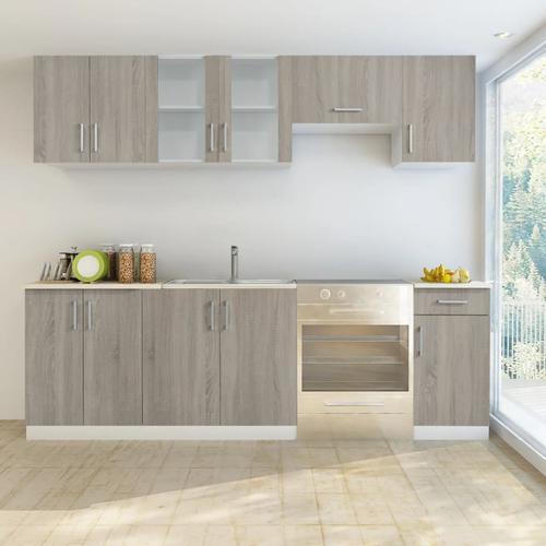 vidaXL Küchenzeile 7-tlg. Eichen-Look
