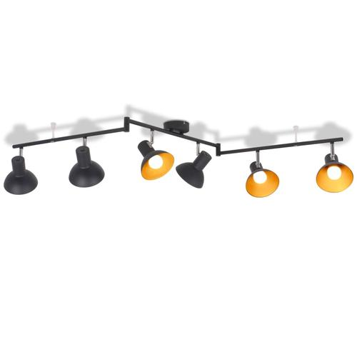 vidaXL Deckenlampe für 6 Glühbirnen E27 Schwarz und Gold