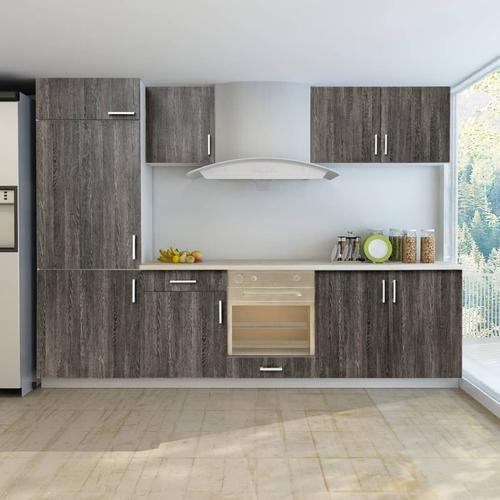 vidaXL Küchenzeile für Einbaukühlschrank 7-tlg. Wenge-Look