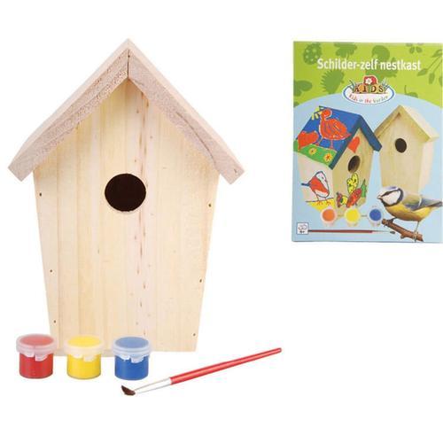 Esschert Design Vogelhaus zum Bemalen 14,8x11,7x20 cm KG145