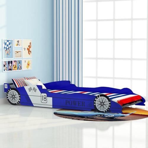 vidaXL Kinderbett Rennwagen 90x200 cm Blau