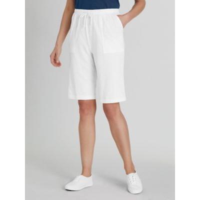 Women's Petite Knit Drawstring Cargo Shorts, White P-XL