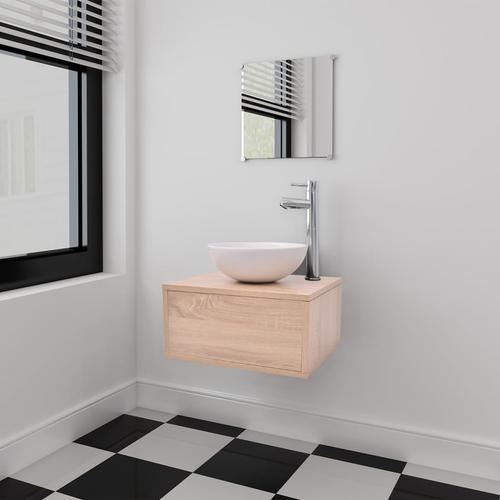 vidaXL 4-tlg. Badmöbel-Set mit Waschbecken und Wasserhahn Beige