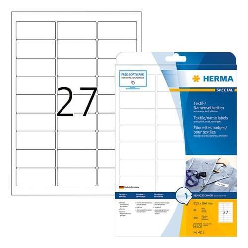 540er-Pack Namens-/Textiletiketten »4511« weiß, Herma