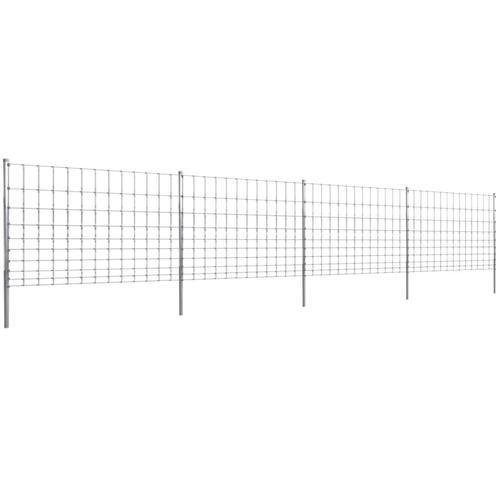 vidaXL Gratenzaun Wildzaun mit Pfosten Verzinktes Eisen 50 m 120/10/30