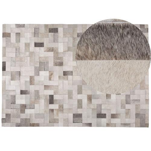 Teppich Grau mit Beige 160 x 230 cm aus Leder Kurzhaarteppich Handgefertigt Patchwork Rechteckig Modern
