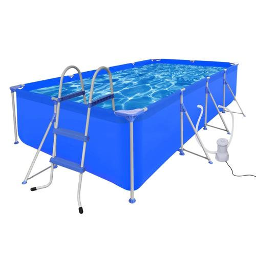 vidaXL Schwimmbecken mit Leiter und Pumpe Komplett-Set 394 x 207 x 80 cm Stahl