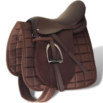 "vidaXL Pferdereiten Sattelset 17,5"" echtes Leder braun 12 cm"