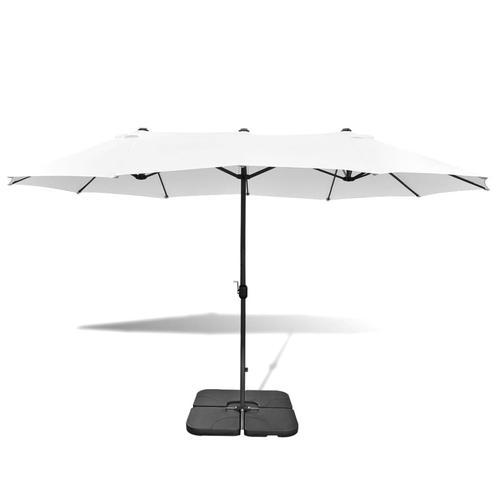 vidaXL Sonnenschirm mit tragbarem Standfuß 2,7×4,6 m Alu Sandweiß