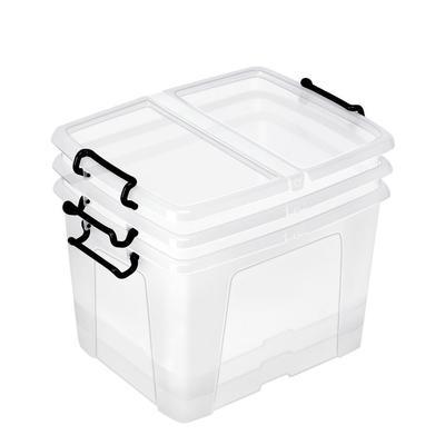 Boîte de rangement en plastique Strata - 40 L - couvercle clipsé - dim int 30,3 x 38,9 x 30,4 cm