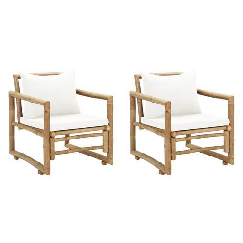 vidaXL Gartenstühle 2 Stk. mit Polstern und Kissen Bambus