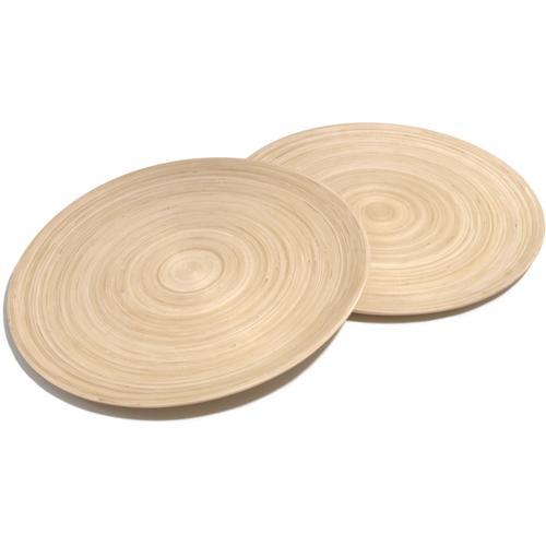 Franz Müller Flechtwaren Pizzateller Bamboo, (Set, 2 St.), Bambus beige Teller Geschirr, Porzellan Tischaccessoires Haushaltswaren