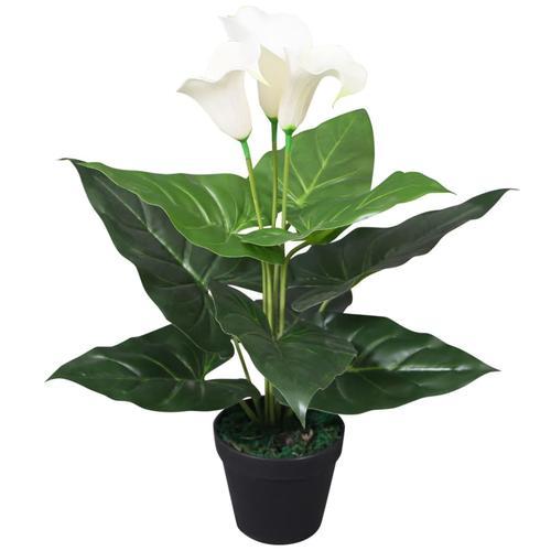 vidaXL Künstliche Calla-Lilie mit Topf 45 cm Weiß