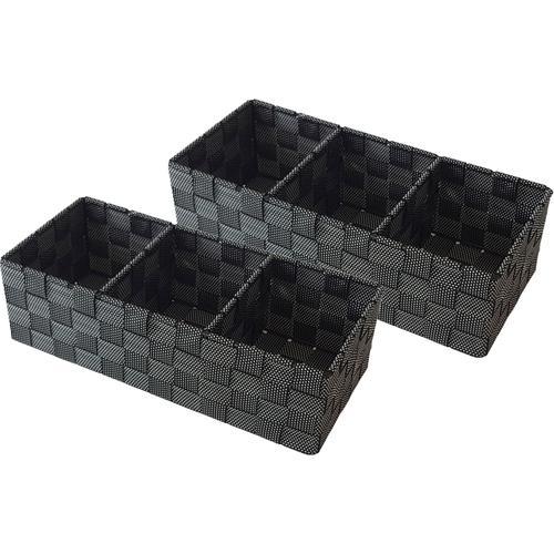 Franz Müller Flechtwaren Aufbewahrungsbox, (Set, 2 St.), mit praktischer Facheinteilung schwarz Kleideraufbewahrung Aufbewahrung Ordnung Wohnaccessoires Aufbewahrungsbox