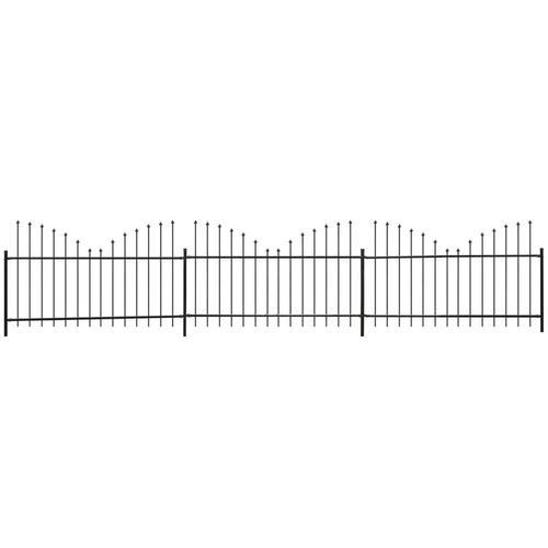 vidaXL Gartenzaun Speerspitzen Invertiert Stahl (0,5-0,75)x6 m Schwarz