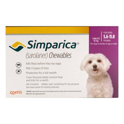 Simparica Chewables For Dogs 5.6-11 Lbs (Purple) 3 Doses