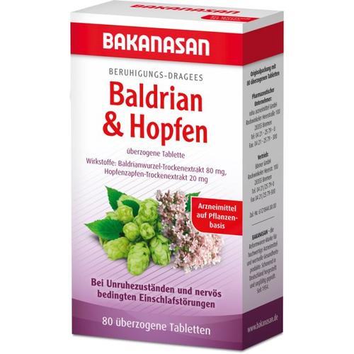 Bakanasan Beruhigungs-Dragees Baldrian & Hopfen 80 Stk. Nahrungsergänzungsmittel