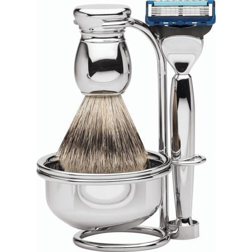 Erbe Shaving Shop MILANO Rasiergarnitur mit Seifenschale Silberspitz & Fusion Metall glänzend Rasierset