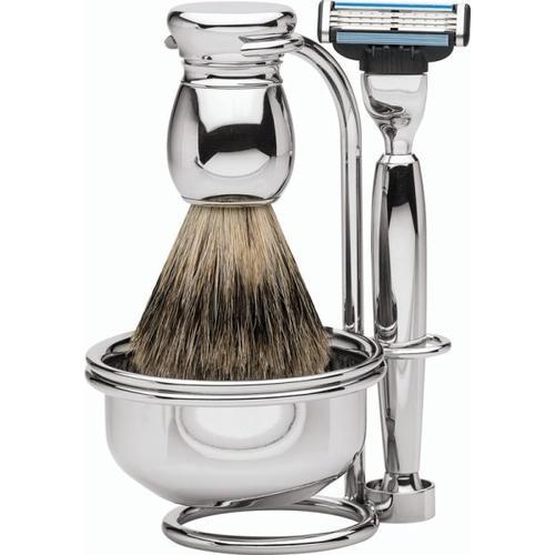 Erbe Shaving Shop Premium Design MILANO Rasiergarnitur mit Seifenschale Dachshaar & Mach3 Metall glänzend Rasierset