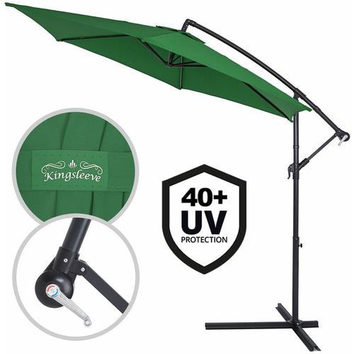 Sonnenschirm Ø330cm UV Schutz 40+ Ampelschirm Marktschirm Gartenschirm Kurbel grün