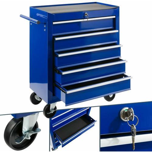 Werkstattwagen Werkzeugwagen Werkzeugschrank Werkzeug Rollwagen 5 Fächer Blau