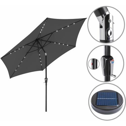 Sonnenschirm ALU 24 LED Kurbel Solar Ø270cm Marktschirm Gartenschirm Schirm anthrazit