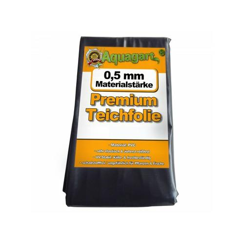 Aquagart - Teichfolie PVC 8m x 6m 0,5mm schwarz Folie für den Gartenteich