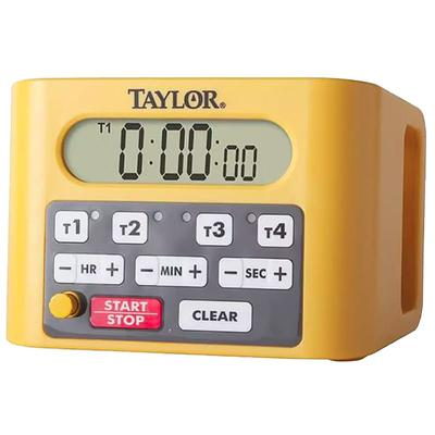 "Taylor 5839N 4 Event Digital Timer - 4 1/2"" x 6 1/4"", Yellow"