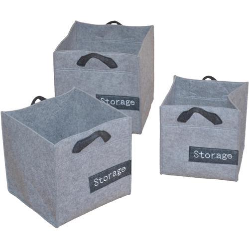 Aufbewahrungskorb, (Set, 3 St.), mit Tragegriffen grau Körbe Aufbewahrung Ordnung Wohnaccessoires Aufbewahrungskorb