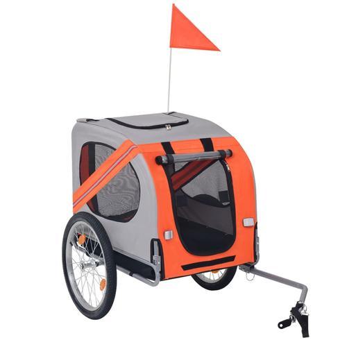 vidaXL Hunde-Fahrradanhänger Orange und Grau