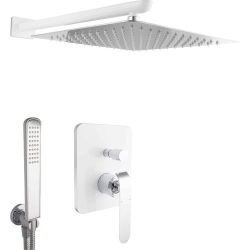 Design Unterputz Duschsystem Regendusche Weiß Chrom