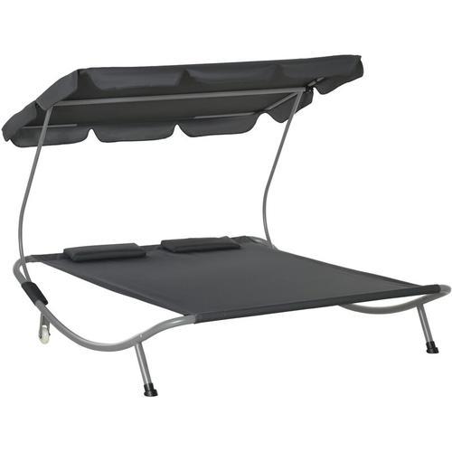 ® Doppelliege Sonnenliege rollbar mit Dach Stahl Grau - grau - Outsunny