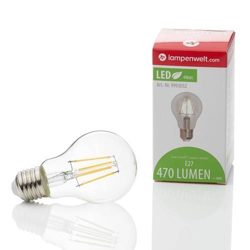 E27 LED-Lampe Filament 4W, 470 lm, 2.700K, klar