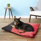 Dogzilla Pillow Dog Bed w/Removable Cover, Red/Black