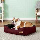 P.L.A.Y. Pet Lifestyle and You Houndstooth Bolster Cat & Dog Bed w/Removable Cover, Red/Black, Medium