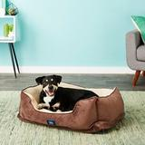 Serta Orthopedic Bolster Dog Bed w/Removable Cover, Mocha
