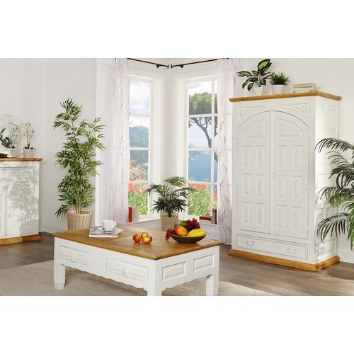 weißer Kleiderschrank, Dielenschrank, Landhausschrank, MEXICO, weiss lackiert, Shabby Chic